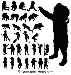 carino, silhouette, vettore, proposta, bambino, nero