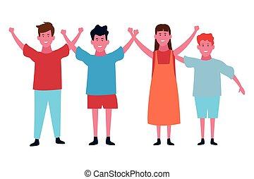 carino, sorridente, bambini, cartone animato, isolato