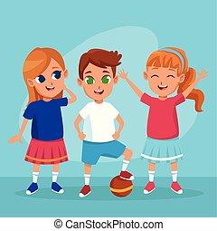 carino, sorridente, bambini, cartoni animati, felice