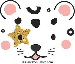 carino, stampe, bambini, style., face., leopardo, scandinavo, decorazione, vivaio, giungla, animale, moda, bambini, design.