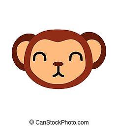 carino, stile, poco, appartamento, scimmia