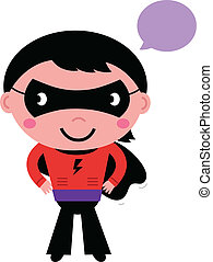 carino, superhero, ragazzo, isolato, discorso, bianco, bolla