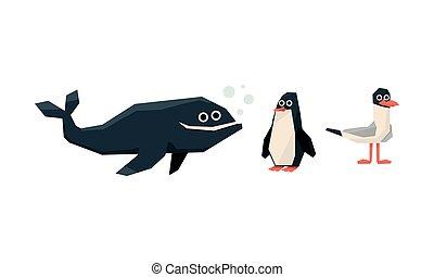 carino, uccelli, gabbiano, animali, pinguino, collezione, vettore, illustrazione, fondo, balena, bianco, marino, geometrico