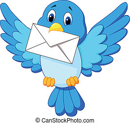 carino, uccello, cartone animato, lettera, trasmettere, distribuire