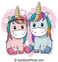 carino, unicorni, due, fondo, cuore