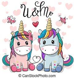 carino, unicorni, due, fondo, cuori