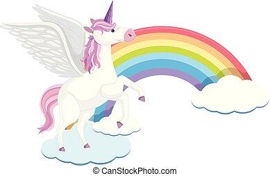 carino, unicorno, nuvola, arcobaleno