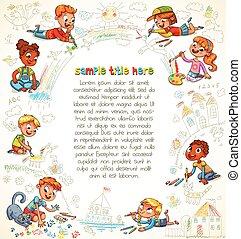 carino, vernice, bambini, insieme, immagine