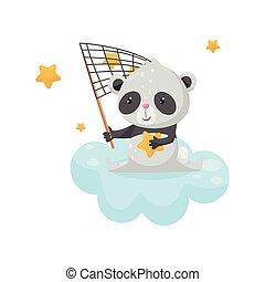 carino, vettore, fare un sogno, seduta, carattere, notte, orso, cartone animato, stelle, buono, presa, disegno, illustrazione, animale, dolce, rete, bello, elemento, panda, nuvola