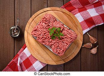 carne, cima, tagliere, tritato, vista
