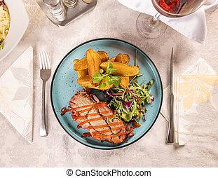 carne di maiale, cotto ferri, bistecca, succoso