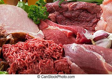 carne fresca, fondo, crudo