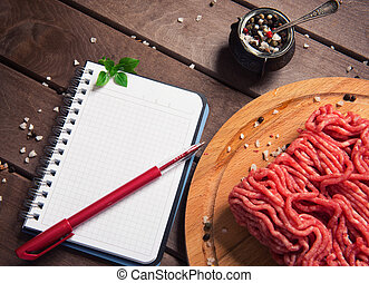 carne, legno, blocco note, rustico, crudo, fondo, vuoto, tritato