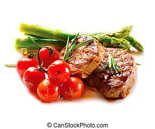 carne, manzo, verdura, steak., cotto ferri, barbecue, bistecca, bbq