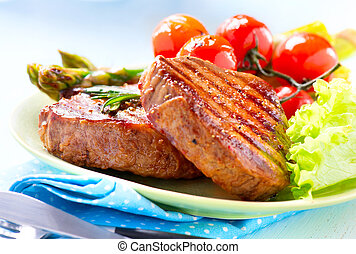 carne, manzo, verdura, steak., cotto ferri, bistecca