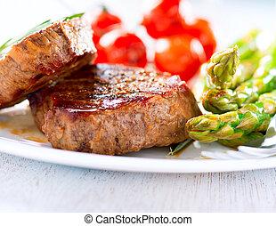carne, manzo, verdura, steaks., cotto ferri, bistecca