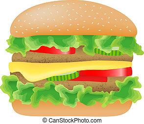 carne, pomodoro, lattuga, cetriolo, formaggio, hamburger