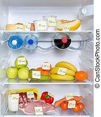 carne, verdura, aperto, calorie, frutte, marcato, frigorifero pieno