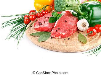 carne, verdura, isolato, crudo, fondo, fresco, bianco