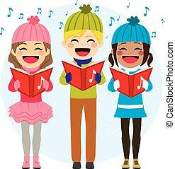 carols, bambini, canto, natale