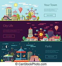 caroselli, appartamento, città, moderno, illustrazione, disegno, concettuale