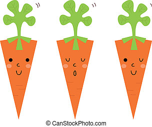 carote, isolato, set, cartone animato, bello, bianco