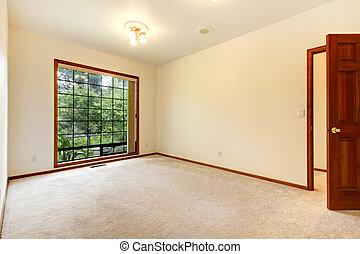 carpet., porta, stanza, legno, beige, bianco, vuoto