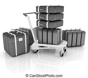 carrello, aeroporto, bagaglio