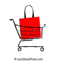carrello, borsa, disegno, tuo, rosso