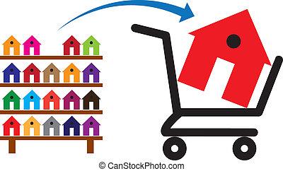 carrello, disponibile, concetto, shopping, colorito, mostrare casa, simbolico, esso, scaffale, sale., case, acquisto, residenze, proprietà, o, acquisto