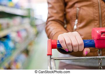 carrello, donna, supermercato