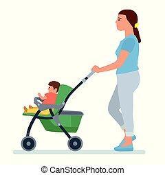 carrello, illustrazione, vettore, madre, bambino, felice