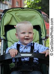 carrello, ragazzo bambino, uno, anni