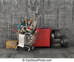 carrello, shopping, shop., auto, garage., parti, automobilistico, cesto, store.