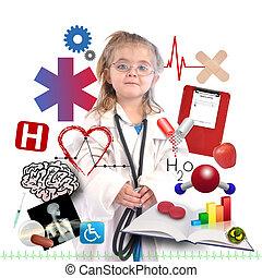 carriera, accademico, bianco, bambino, dottore