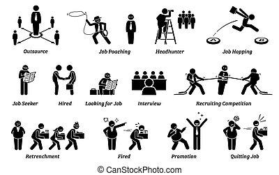 carriera, icone, set., lavoro, occupazione