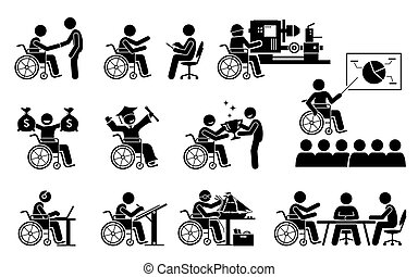 carriera, icons., riuscito, buono, lavoro, persona, detenere, bastone, invalido, figure