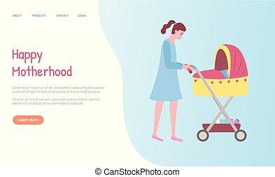 carrozzino, web, camminare, donna, maternità, vettore