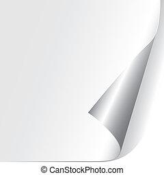carta, arricciato, angolo, (vector)