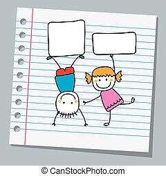 carta, bambini, quaderno