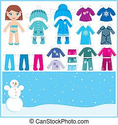 carta, clo, set, inverno, bambola