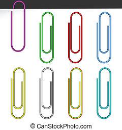 carta, colorato, clips.