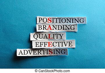 carta, concetto, acronimo, taglio, parole, affari leggeri, duro, vendite