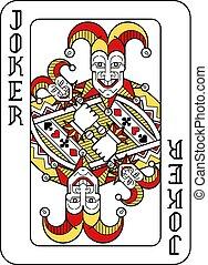 carta da gioco, nero, burlone, giallo, rosso