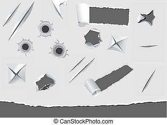 carta, danneggiato, set, torned, elementi