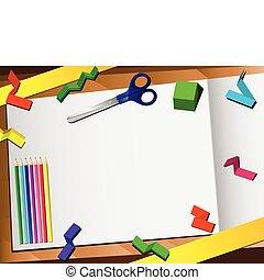 carta, fondo., taglio, 3d, desktop