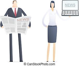carta, notizie, computer