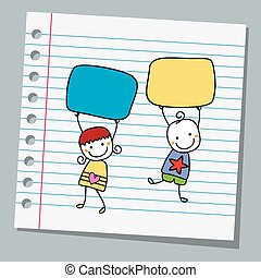 carta, quaderno, bambini