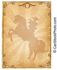 carta, rodeo, vecchio, fondo, .retro, cowboy, manifesto