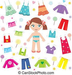 carta, set, bambola, vestiti